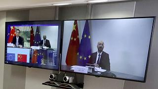 European Council President Charles Michel speaks with Chinese Premier Li Keqiang,  in video conference format
