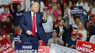 El presidente Donald Trump después de hablar durante un mitin de campaña en el BOK Center, el sábado 20 de junio de 2020, en Tulsa, Okla.