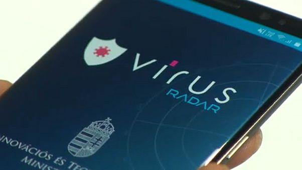 A víruskövető alkalmazás nyitóképernyője
