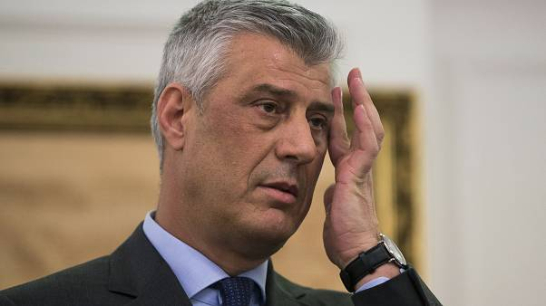 In this Monday, Jan. 21, 2019 file photo, Kosovo president Hashim Thaci gestures during a press conference in Kosovo capital Pristina.