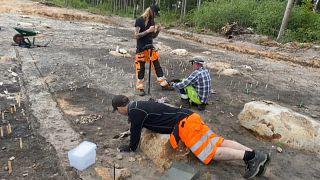 Grabungsarbeiten an der Fundstelle.