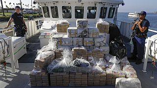 Ya antes de la crisis, en Estados Unidos aumentaban las incautaciones de drogas sintéticas y cocaina. Incautación en Los Ángeles el pasado enero.