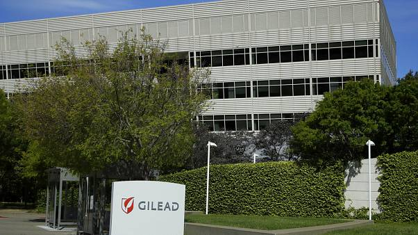 This is an April 30, 2020, file photo showing Gilead Sciences headquarters in Foster City, Calif.