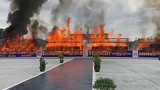 كميات من المخدرات عند حرقها في العاصمة يانغون - 2020/06/26