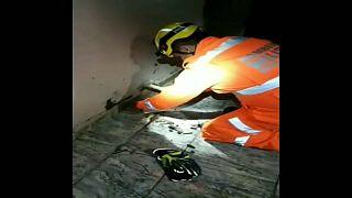 Au Brésil, sauvetage délicat d'un chiot coincé sous le plancher
