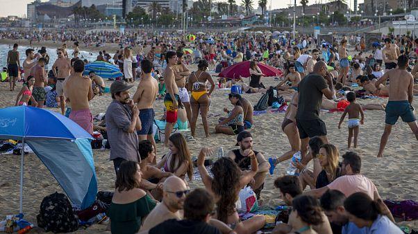 La playa de Barcelona el pasado 21 de junio