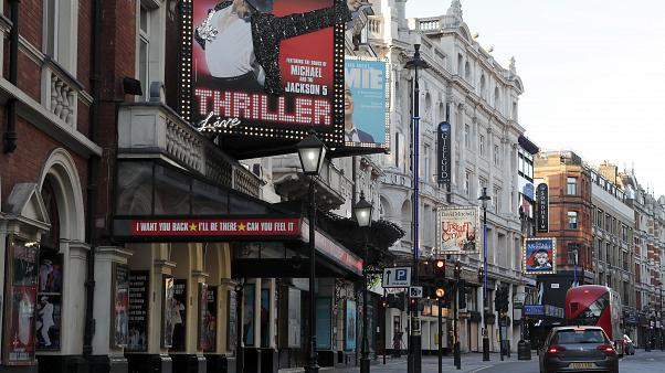 Streets are mostly empty and Theatres are closed in the normally busy theatreland area of central London, Tuesday, March 24, 2020.