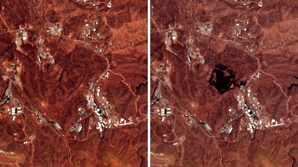 مقایشه تصاویر ماهوارهای از جاییکه در آن انفجار رخ داد با تصاویر هفتههای گذشته