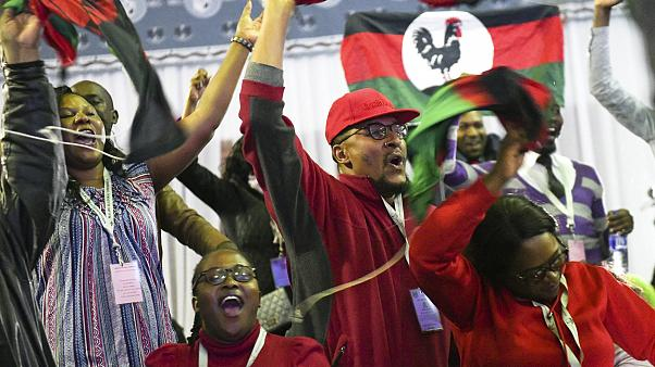 Malawi Congress Party supporters celebrate after party leader Lazarus Chakwera was announced the winner of Tuesday's election rerun in Blantyre, Malawi, Saturday, June 27.