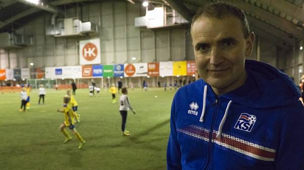 Iceland President Gudni Thorlacius Johannesson poses for a photo during a tournament in Kopavogur on the outskirts of Reykjavik.