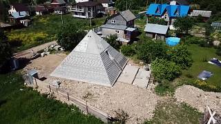 Drone view of the pyramid around houses