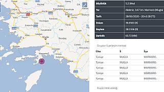 Muğla'nın Marmaris ilçesinde 5,2 büyüklüğünde deprem