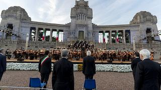 Gedenkfeier in Bergamo mit Sergio Mattarella.