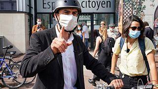 Grégory Doucet, candidat écologiste EELV, à la sortie de son vote à Lyon, le 28 juin 2020
