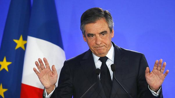 Francois Fillon addresses supporters in Paris on April 23, 2017