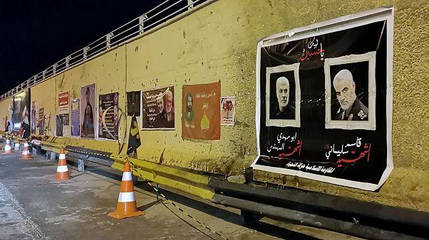 ملصقات قاسم سليماني ونائب قائد الميليشيات أبو مهدي المهندس في شوارع بغداد-العراق.