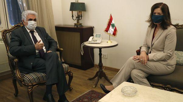 وزير الخارجية اللبناني ناصيف حتي مع سفيرة الولايات المتحدة في لبنان