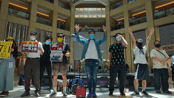 وقفة احتجاجية في مركز تجاري في هونغ كونغ