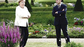 Angela Merkel und Emmanuel Macron am Montag in Meseberg bei Berlin