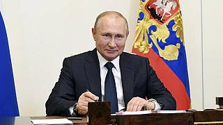 Russian President Vladimir Putin, attends a meeting via teleconference at the Novo-Ogaryovo residence outside Moscow, Russia, Monday, June 1, 2020