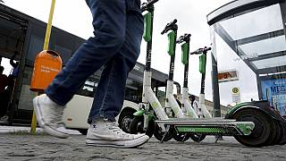 Electric scooters in Berlin, Germany.