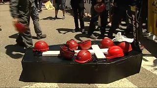 Protesta en la central térmica de Andorra, Teruel