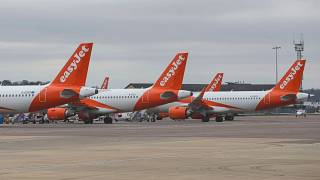 EasyJet planes parked on the tarmac at Luton Airport