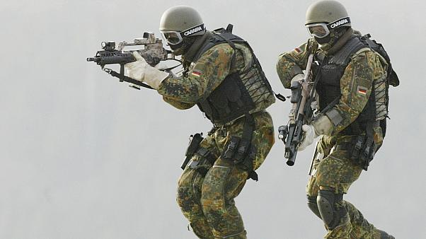 Soldiers of (KSK) Kommando Spezialkraefte, German Bundeswehr's special forces take part in a training exercise in Calw, in February 2004.