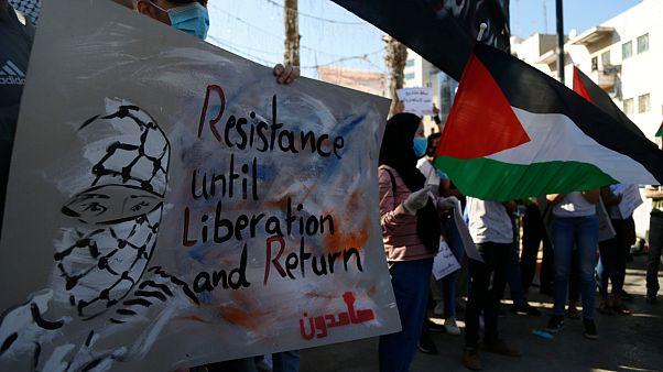 Des Palestiniens manifestent en Cisjordanie contre le plan d'annexion israélien le 1er juillet 2020