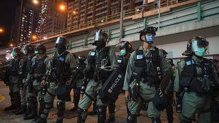 Polizeikette in Hongkong