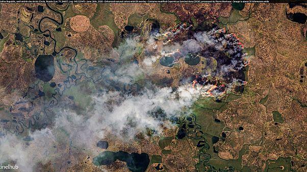 Incendio en la República de Sakha, en Siberia, en el paralelo 77º, en pleno Círculo Polar Ártico.
