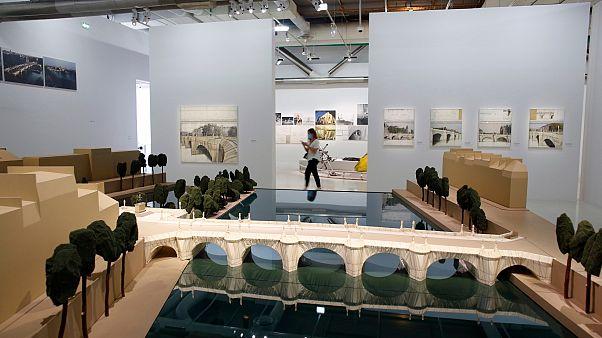 Exposition Christo au musée George Pompidou Beaubourg à Paris, le 23 juin 2020