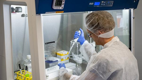 An employee of Centogene is working on samples in a laboratory container at the airport in Frankfurt, Germany, June 29, 2020.