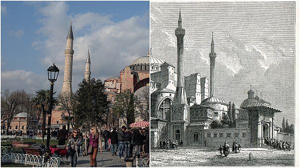 رسم لبناء آيا صوفيا يعود لعام 1857 (يمين) وصورة ملتقطة حديثا عام 2014 (يسار)