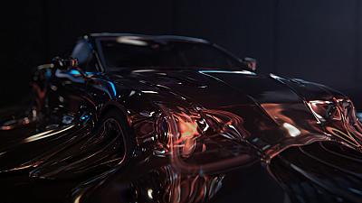 The advert features a sports car melting away to show the e-bike.