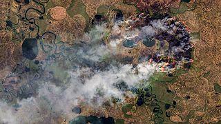 Incendie dans la République de Sakha, en Sibérie, sur le 77e parallèle, dans le cercle polaire