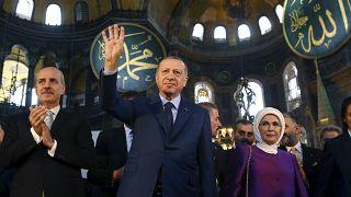 Le président turc Erdogan à Sainte-Sophie, le 31 mars 2018