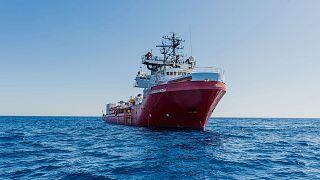"""Le navire """"Ocean Viking"""" affrêté par l'ONG SOS Méditerrannée. Photo prise le 22/06/2020"""
