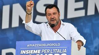 League's leader Matteo Salvini addresses the crowd in Rome's Piazza del Popolo on July 4, 2020