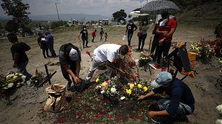 مراسم دفن أحد ضحايا فيروس كورونا في المسكيك