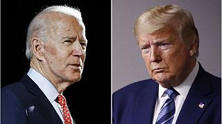 Former Vice President Joe Biden speaks in Wilmington, Del., on March 12, 2020, left, and President Donald Trump speaks at the White House in Washington on April 5, 2020