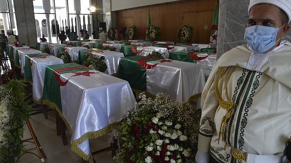 The fighters' coffins at the Palais De La Culture Moufdi Zakaria in Algiers on July 4, 2020