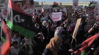 Libya'nın Bingazi kentinde Türkiye ve Cumhurbaşkanı Erdoğan karşıtı protesto