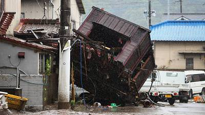 A building was washed away by floods due to torrential rain in Hitoyoshi, Kumamoto prefecture, Japan. 5 July 2020