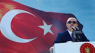 Erdoğan elnök beszédet mond a török csendőrség napján, 2017-ben