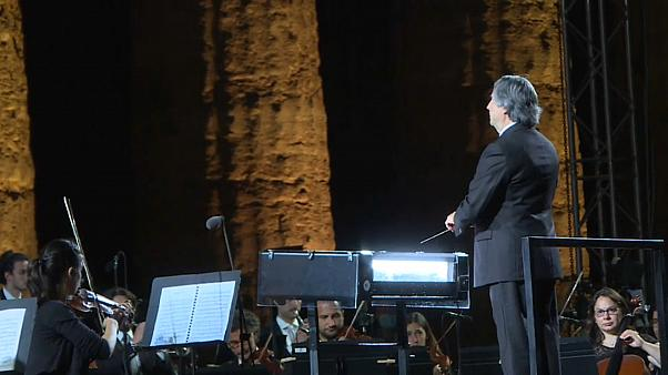 Musicians from the Syrian diaspora in Europe perform in a concert conducted by Riccardo Muti in Paestum, southern Italy, July 5, 2020