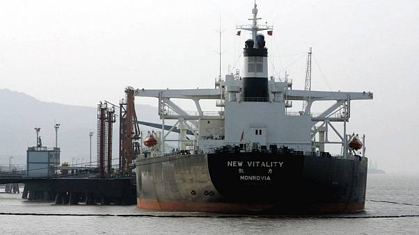 An oil tanker is anchored offshore near Zhoushan, China