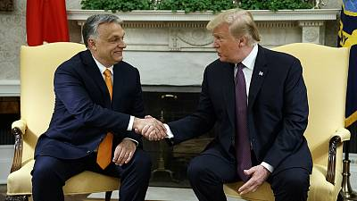 Donald Trump meets with Viktor Orbán at the White House.