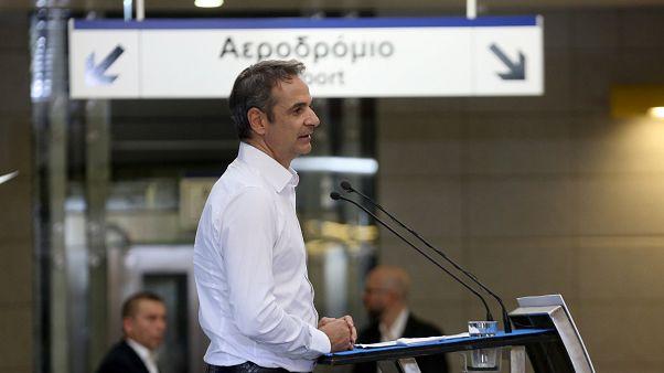 Ο Κ. Μητσοτάκης στον σταθμό Μετρό Νίκαιας