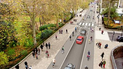 A proposed layout for a liveable street in Camden, London.